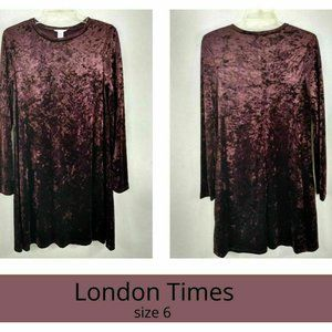 London Times Womens Dress 6 Sheath Burgundy Velvet